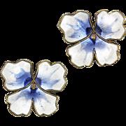 David Andersen Blue and White Enamel Pansy Sterling Silver Earrings