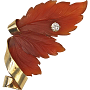 Carnelian and Diamond 14kt Gold Leaf Brooch