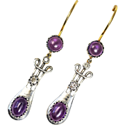 Art Nouveau Amethyst and Diamond Gold and Silver Earrings
