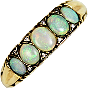 Victorian Five Opal and Diamond 14kt Gold Ring