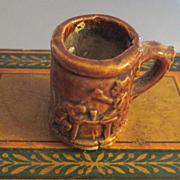Rockingham Brown Glaze Miniature Figural Mug Beer Drinkers