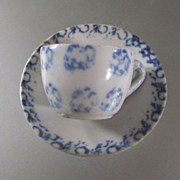 REDUCED Antique Staffordshire Spattered Doll Cup & Saucer