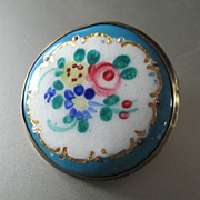 Early 1900's Gold Plated Hand Painted Brooch