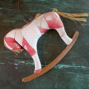 Darling Rocking Horse Ornament Antique Quilt