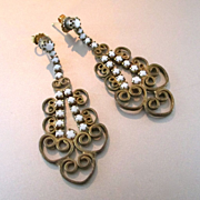 REDUCED Deco Milk Glass Filigree Long Dangle Earrings 1930's