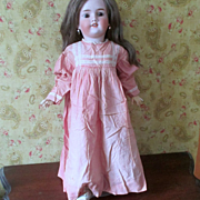 2 Victorian Pink Twin Dresses Med. to Larger Doll Hand Sewn