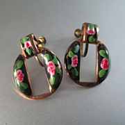 Enamel On Copper Dangle Hoops Roses