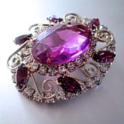 60's Large Purple Crystal & Paste Brooch