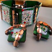 Bright Green Confetti Matisse Enamel On Copper Demi Parure