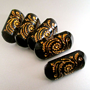 Gorgeous Black Glass & Gilt Victorian Floral Buttons