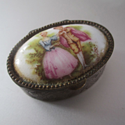 SALE PENDING Vintage Ring Box Porcelain Brass Italy For Valentine's Gift
