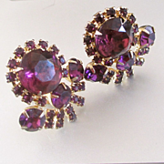 50's Large Purple Paste Estate Clip Earrings