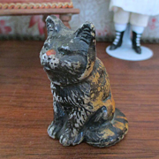 Cutest Cold Painted Dollhouse Miniature Tabby Cat Signed