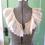 Deco Chiffon Pleated Ruffle Shawl Collar with Cut Outs