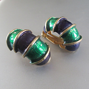 60's Enameled Green Purple Bamboo Style Clips