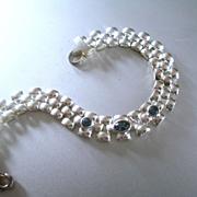 Simple Elegant Sterling Link Bracelet Blue Stones