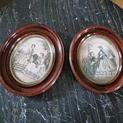 Set Victorian Walnut Frames French Prints