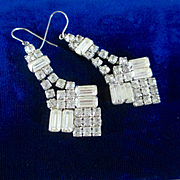 Great Long Dangle Deco Rhinestone Earrings