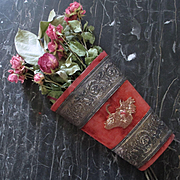 REDUCED Victorian Velvet Wall Pocket Repousse Metal Bands
