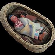 Antique Native American Doll Cradle Basket With Skookum Mother Baby