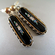 Lovely Deco Inlaid Onyx Earrings