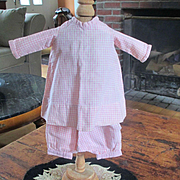 Darling Early Pink Gingham Tattersall  2 Piece Smaller Doll