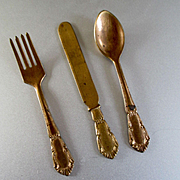 Soft Metal Gilt Doll's Flatware Setting