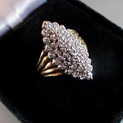 Lovely Vintage Cluster Diamond Marquis Deco Style Cocktail Ring