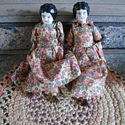 SOLD Twin German Low Brow Dollhouse China Dolls Original Clothes