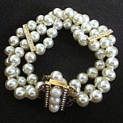 Vintage Majorca 3 Strand Bracelet with Rhinestone Bars