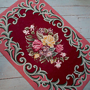 Spectacular 1940's Hand Hooked Rug Roses Wall Hanging
