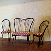 Vintage Bentwood Checkered Ice Cream Parlour Chairs Couch Dollhouse