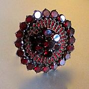 Large Opulent Georgian/Victorian Garnet Ring 14K