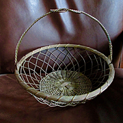 GREAT Vintage French Wire Hanging Basket Large