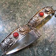 Vintage Sterling Scarab and Coral Link Bracelet