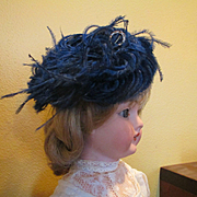 Lovely Old Ostrich Feather Doll Fascinator Hat Hatpin