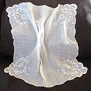 Large 19C French White Drawn Lace Bridal Hanky