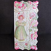 Art Nouveau Die Cut Valentine Wild Roses Pretty Girl