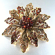 1940's Glam Brooch Huge Dahlia Flower Encrusted Rhinestones