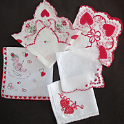 SOLD 5 Great Adorable 50's Valentines Hankies, Embroidered Scalloped Angel Roses Lace