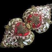 Large Double Heart Gilt Victorian/Edwardian Belt Buckle