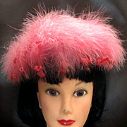 Lord and Taylor's Marabou Feather Fascinator Hat Made in Paris