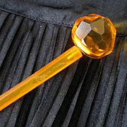 Art Deco Citrine Faceted Glass Ball Hat Pin Or Hair Accessory