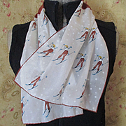 SALE PENDING 1940's Darling Silk Scarf With Blonde Skiers