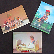 Vintage Unused 3 Kathe Kruse Postcards Germany