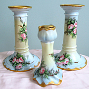 Spectacular Art Nouveau PL Limoges Roses Candlesticks Hatpin Holder From Collection