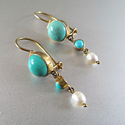 Lovely Delicate Victorian Gold Washed Turquoise Dangle Earrings