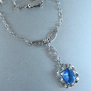 Czech Deco Sterling Blue Crystal Filigree Pendant Necklace