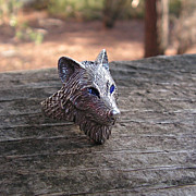 SOLD Sterling Silver Timber Wolf Ring With Blue Eyes