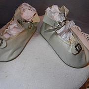 Blue Oilcloth Shoes, original buckles